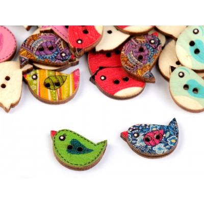 Drevený dekoračný gombík vtáčik