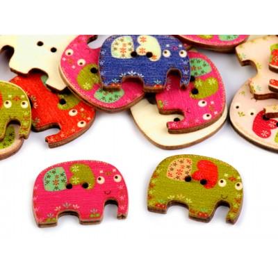 Drevený dekoračný gombík slon
