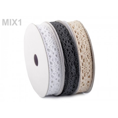 Bavlnená čipka šírka 13 mm mix