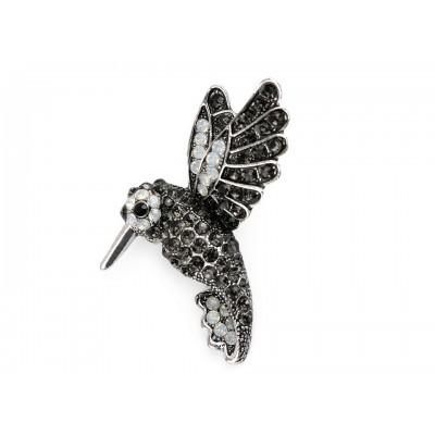 Brošňa s brúsenými kamienkami kolibrík