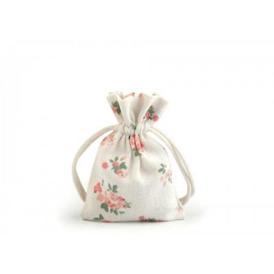 Bavlnené vrecko s kvetmi 7x10 cm