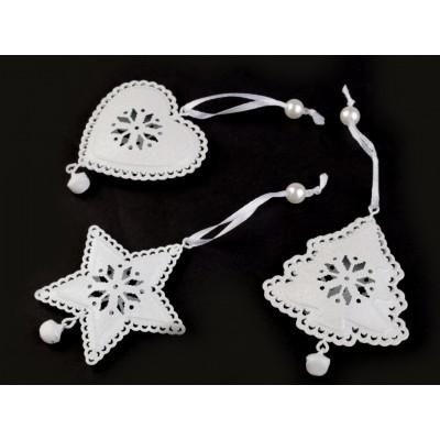 Kovová dekorácia s glitrami srdce, stromček, hviezda