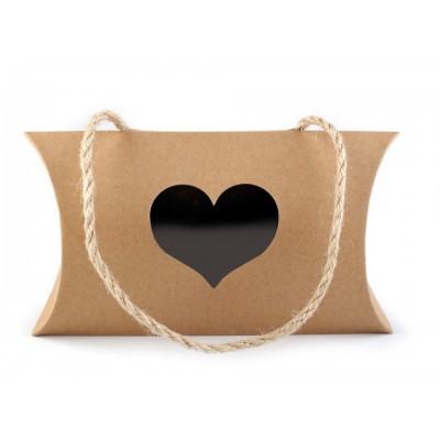 Darčeková krabička natural s priehľadom a uchom