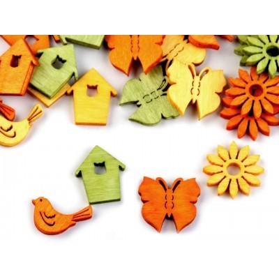 Drevený motýľ, vtáčik, domček, kvet menší