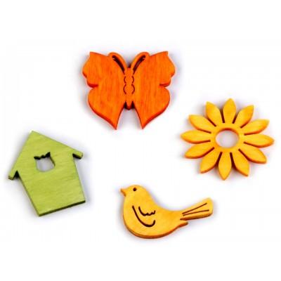 Drevený motýľ, vtáčik, kvet, domček väčší