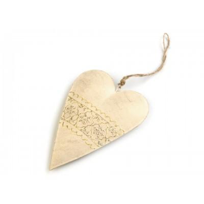 Kovové vianočné srdce 10x14,5 cm