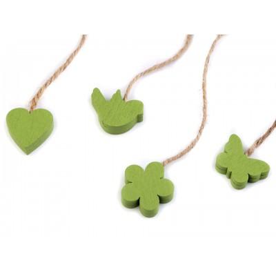 Drevený vtáčik, motýľ, kvet, srdce s motúzikom - zelené