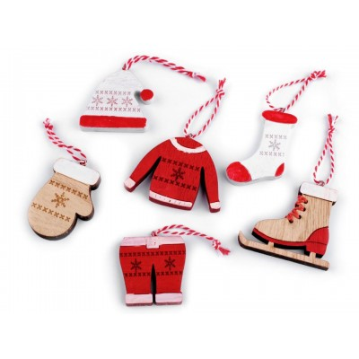 Vianočná drevená dekorácia - korčule, rukavice, čiapky, bunda, ponožka, nohavice