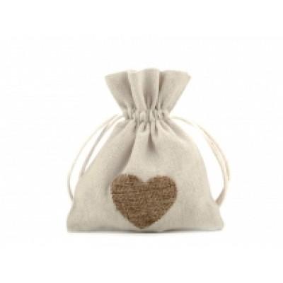 Bavlnené vrecká srdce 11x13 cm