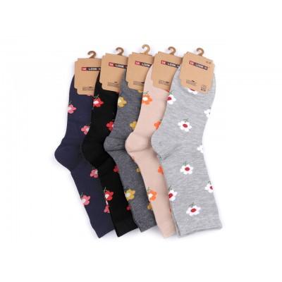 Dámske bavlnené ponožky kvety