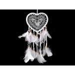 Lapač snov srdce s čipkou a perím