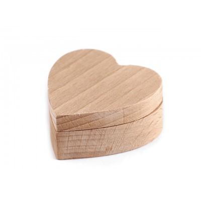 Drevená krabička srdce na dozdobenie